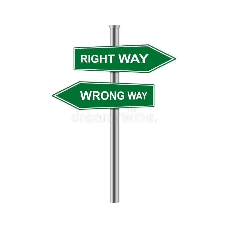 Le frecce di riserva di vettore firmano il giusto modo ed il modo sbagliato illustrazione vettoriale