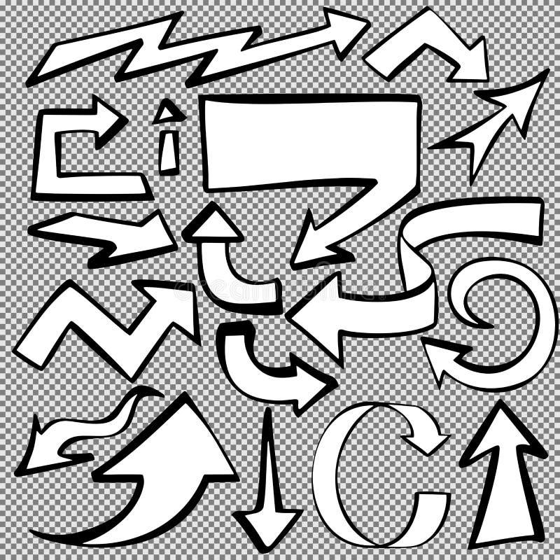 Le frecce messe schizzano il vettore disegnato a mano del fumetto royalty illustrazione gratis