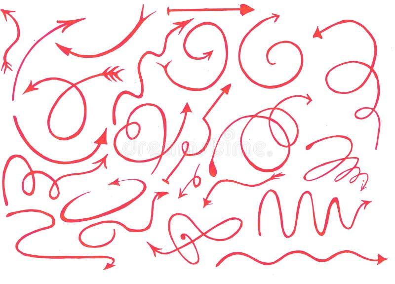 Le frecce rosa-rosso grafiche disegnate a mano messe con fondo bianco, rosso carminio scarabocchiano con fondo bianco e trasparen royalty illustrazione gratis
