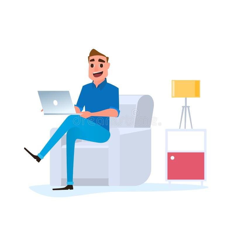 Le free lance lavorano a casa il concetto Uomo che lavora a casa con il computer portatile sul sofà royalty illustrazione gratis