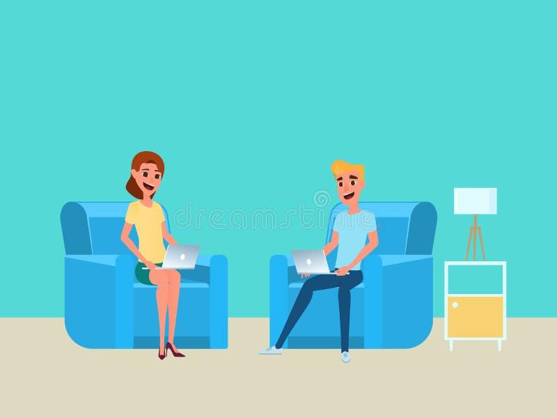 Le free lance lavorano a casa il concetto Uomo e donna che lavorano a casa con il computer portatile sul sofà illustrazione di stock