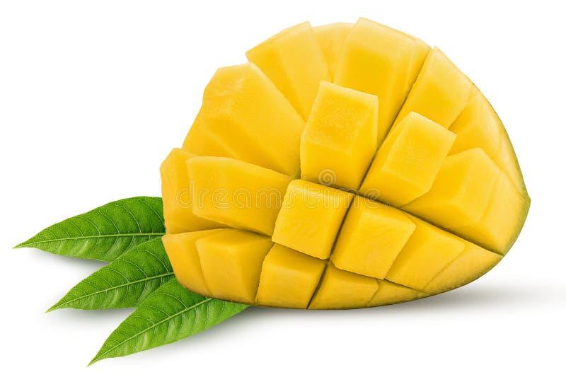Le friut exotique de mangue a coupé en demi cubes avec la feuille photo libre de droits
