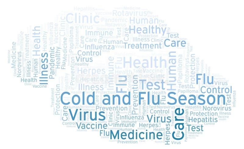 Le froid et la saison de la grippe expriment le nuage, fait avec le texte seulement illustration libre de droits