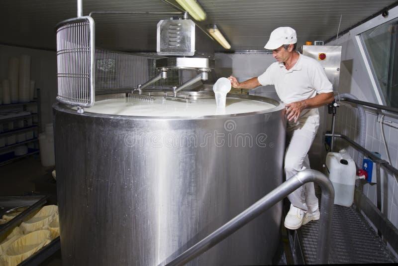 Le fromager verse la présure photo stock