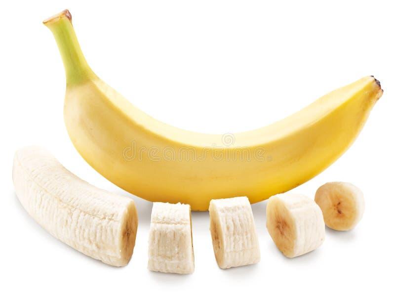 Le fruit de banane avec la banane rapièce sur un fond blanc photographie stock libre de droits