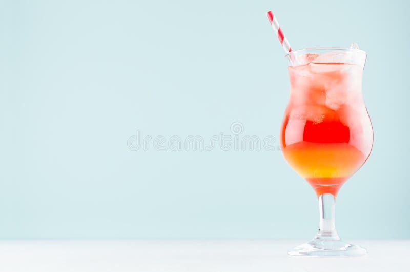 Le fruit frais d'été a posé le cocktail rouge et jaune de lever de soleil avec la paille, glaçons dans le verre à vin sur le fond images libres de droits