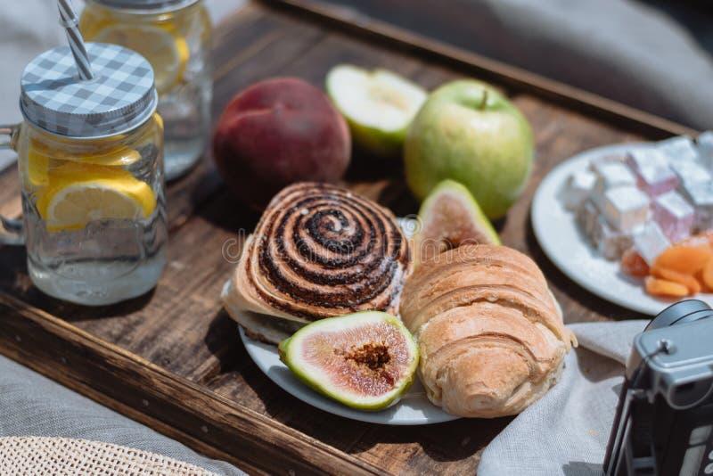 Le fruit, la limonade et les pâtisseries ont servi à un pique-nique contre la montagne photographie stock
