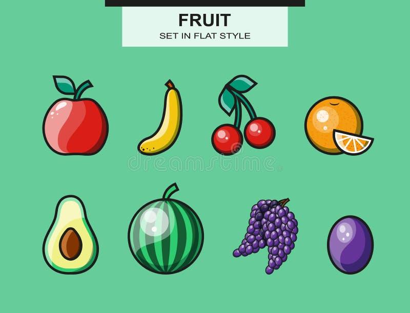 Le fruit a placé dans le style plat avec une course illustration stock