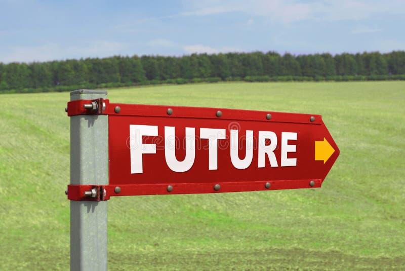 Le futur pointage de signe de route photo libre de droits