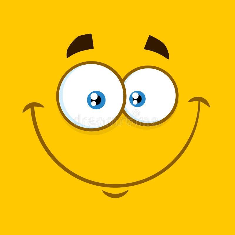 Le fyrkantiga Emoticons för tecknad film med lyckligt uttryck stock illustrationer