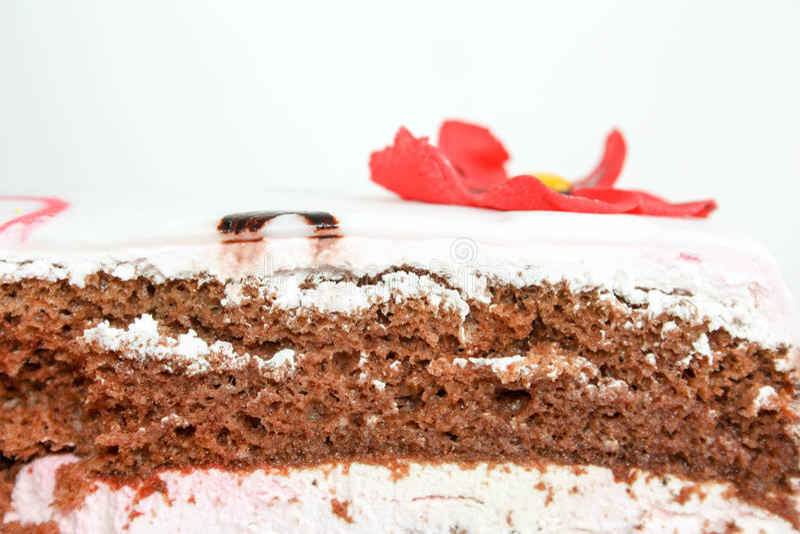 Le gâteau avec des fleurs d'écarlate est décoré photo image stock