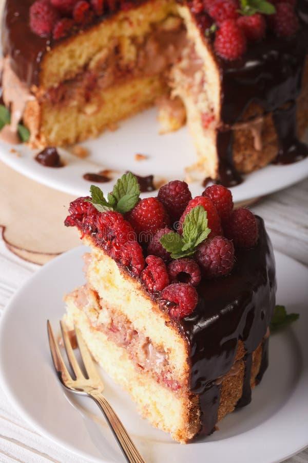 Le gâteau découpé en tranches de framboise avec les baies fraîches se ferment vers le haut de la verticale images libres de droits