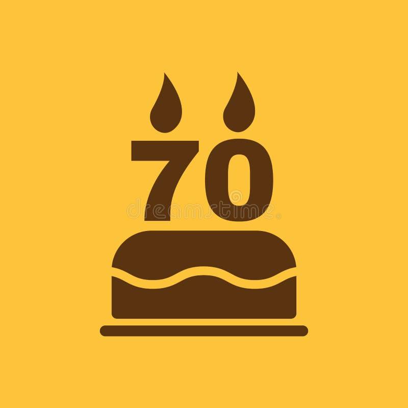Le gâteau d'anniversaire avec des bougies sous forme d'icône du numéro 70 symbole d'anniversaire plat illustration stock