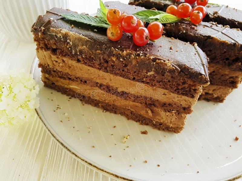 Le gâteau de chocolat, groseille rouge, menthe, fleurissent le plat crémeux d'été de saveur de biscuit sur en bois blanc images stock