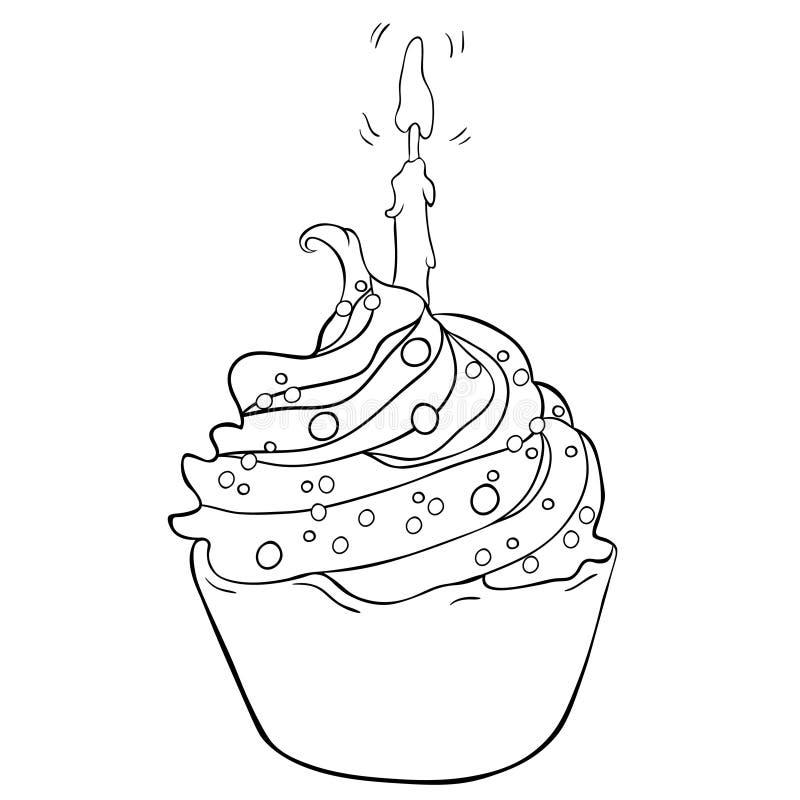 Le gâteau doux des vacances heureuses avec la bougie brûle Illustra de vecteur illustration de vecteur