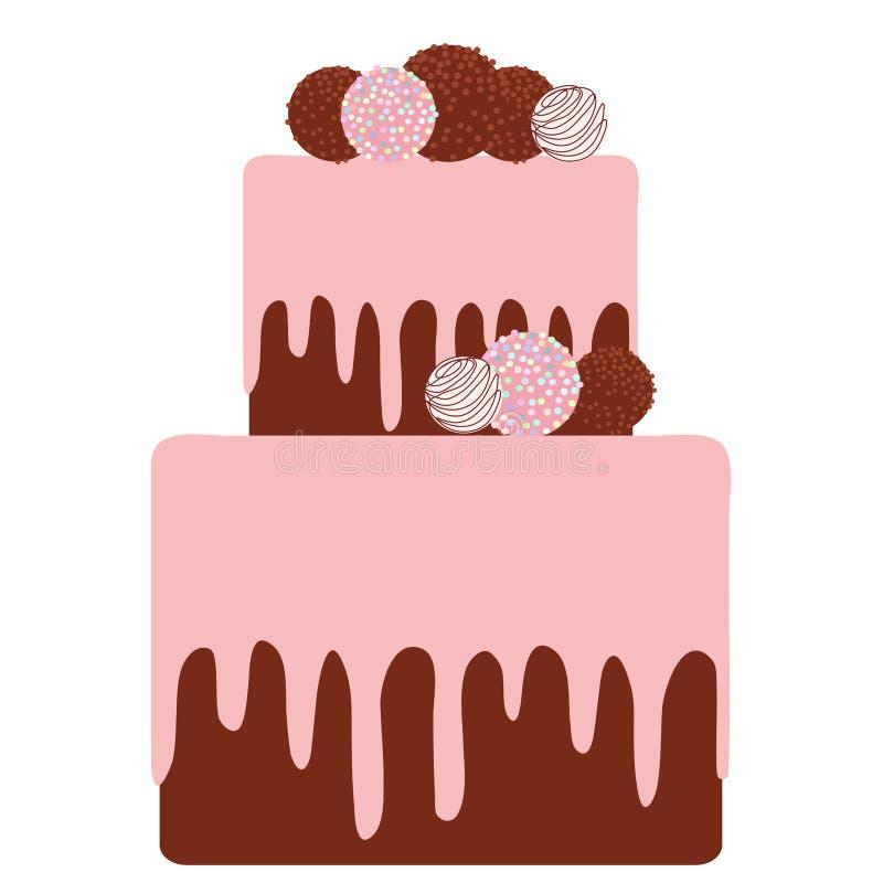 Le gâteau doux, glaçage crème rose de chocolat de fraise arrose illustration libre de droits