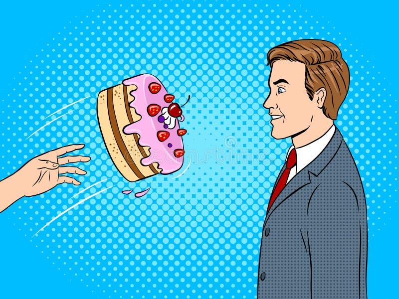Le gâteau est jeté dans l'illustration de vecteur d'art de bruit de visage illustration de vecteur