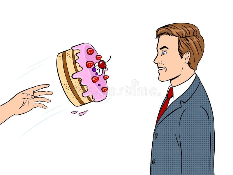 Le gâteau est jeté dans l'illustration de vecteur d'art de bruit de visage illustration libre de droits