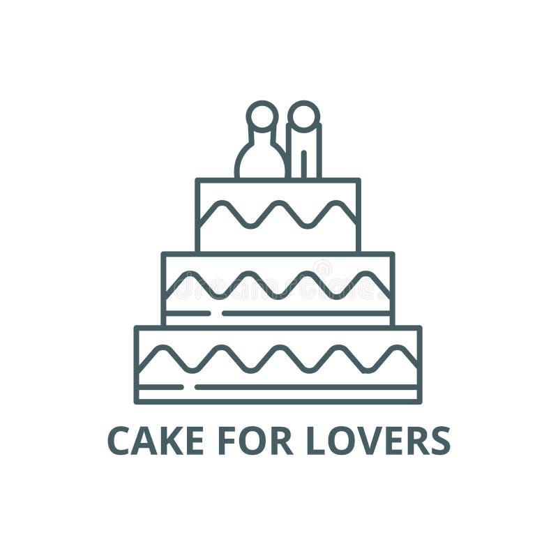 Le gâteau pour des amants rayent l'icône, vecteur Gâteau pour le signe d'ensemble d'amants, symbole de concept, illustration plat illustration libre de droits