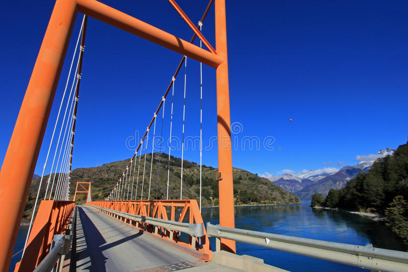Le Général Carrera Bridge, Carretera austral, Chili images stock
