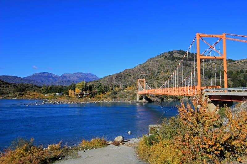Le Général Carrera Bridge, Carretera austral, Chili photographie stock