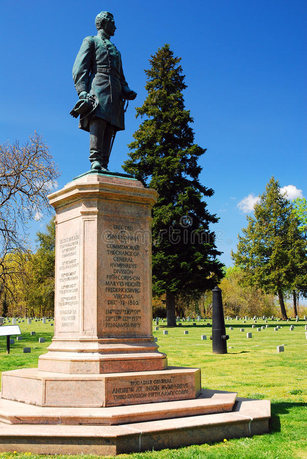 Le Général Humphrey au cimetière de militaires de guerre civile image stock