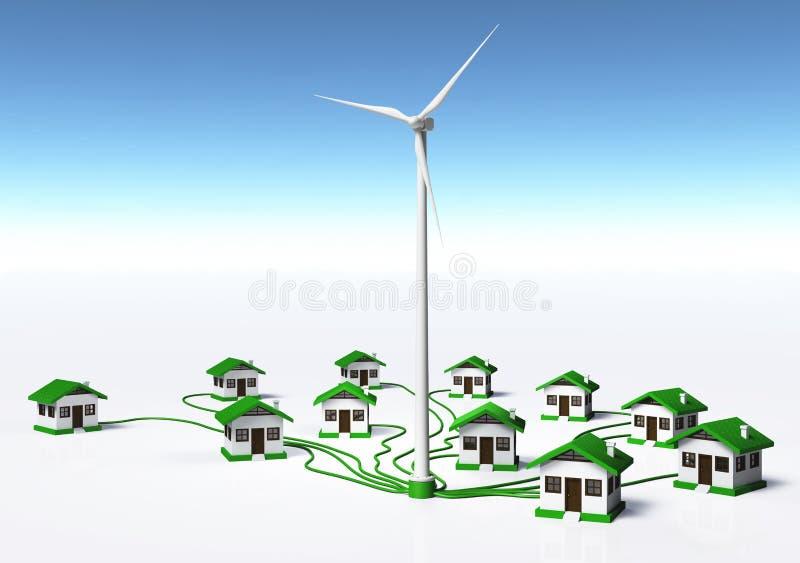 Le générateur de vent fournit les maisons illustration de vecteur