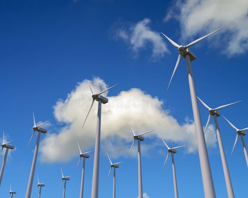 Le générateur de vent fraise le ciel bleu et les nuages illustration libre de droits