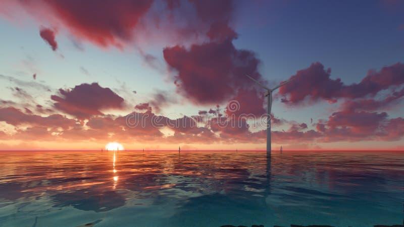 Le générateur de vent de technologie et d'environnement sur la mer 3D rendent illustration de vecteur