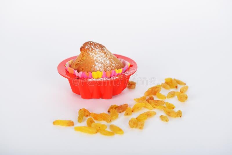 Le g?teau avec la poudre de sucre blanc l?-dessus est sous le formulaire sp?cial pour la cuisson de g?teau image stock
