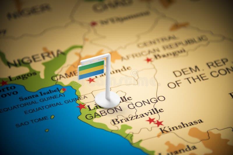 Le Gabon a identifié par un drapeau sur la carte images libres de droits
