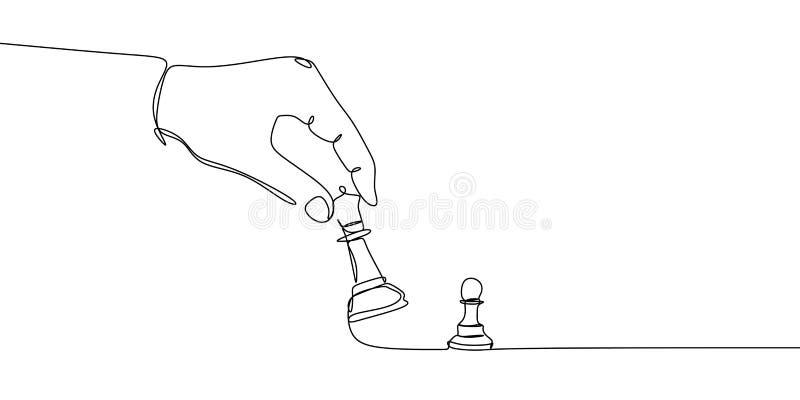 Le gage et les pièces d'échecs d'évêque ou de reine sont dessinés par une ligne noire sur un fond blanc Dessin au trait continu V illustration stock
