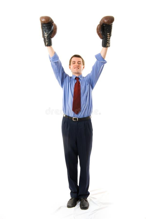 Le gagnant. Boxeur d'homme d'affaires. photos libres de droits