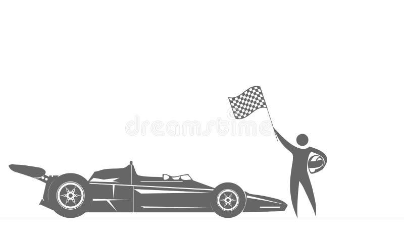 Download Le Gagnant De La Course Près Des Courses D'automobiles De Sports Avec Le Drapeau à Disposition Illustration de Vecteur - Illustration du concurrence, gestionnaire: 76082927