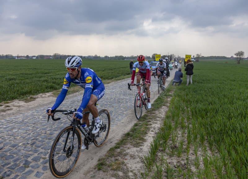 Le gagnant Philippe Gilbert - Paris-Roubaix 2019 images libres de droits