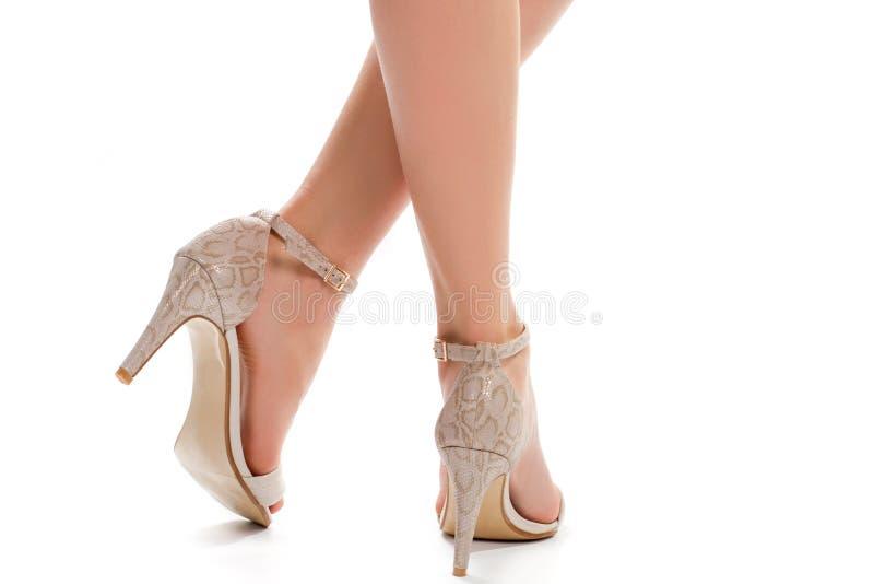 Le gambe di signora in scarpe del tallone immagini stock libere da diritti