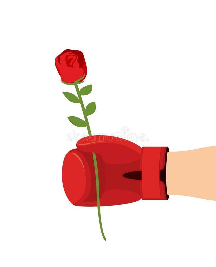 Le gant de boxeur et s'est levé Donnez la fleur sur 8t de mars Femme de cadeau illustration stock