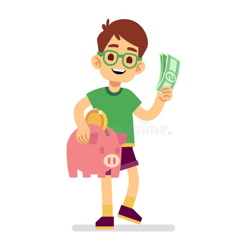 Le garçon épargne l'argent avec l'illustration de vecteur de tirelire illustration de vecteur