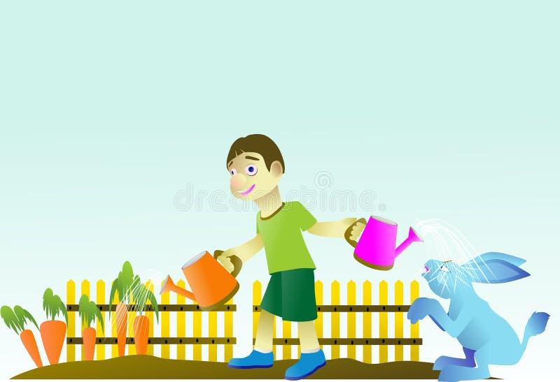 le garçon était carotte de arrosage de jardinage tout en jouant avec un lapin illustration stock