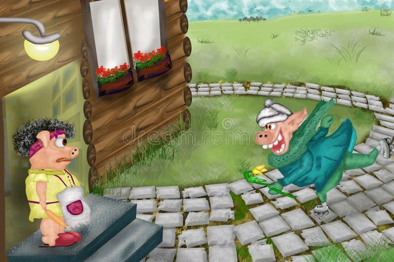 Le garçon aimant de porc donne a de fille de porc de tulp L'action a lieu à l'arrière-cour de la maison illustration libre de droits