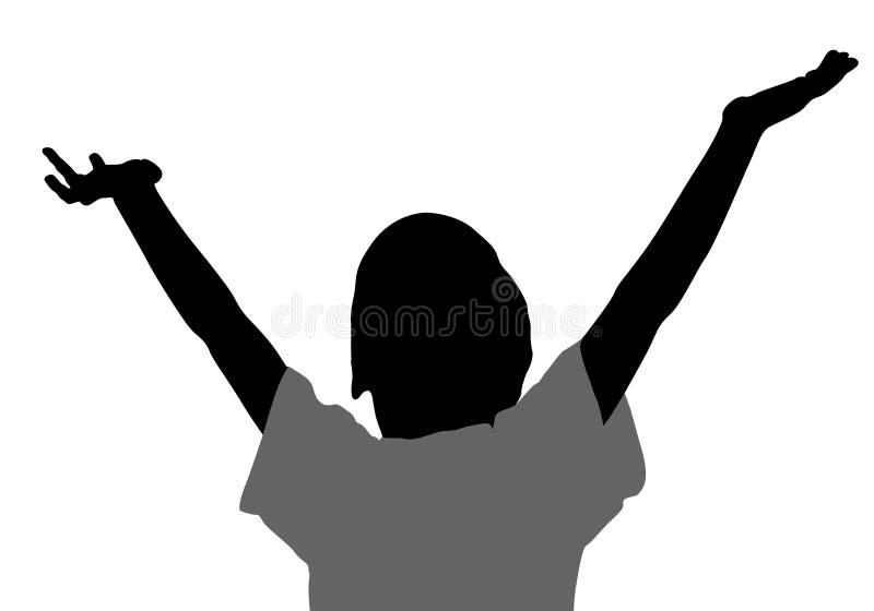 Le garçon avec des mains lèvent la silhouette illustration libre de droits