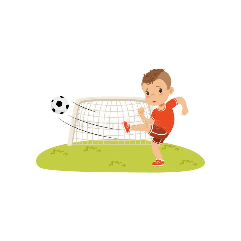 Le garçon avec du ballon de football faisant le coup-de-pied sur la pelouse, garçon triste n'a pas marqué une illustration de vec illustration stock