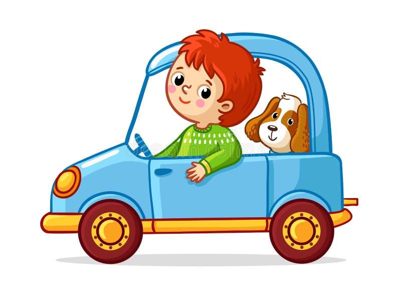 Le garçon avec un chien monte une voiture bleue illustration de vecteur