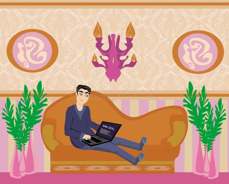 Le garçon avec un ordinateur portable se trouve sur le sofa illustration stock