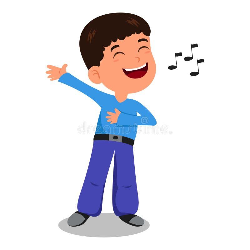 Le garçon chantent une chanson illustration de vecteur
