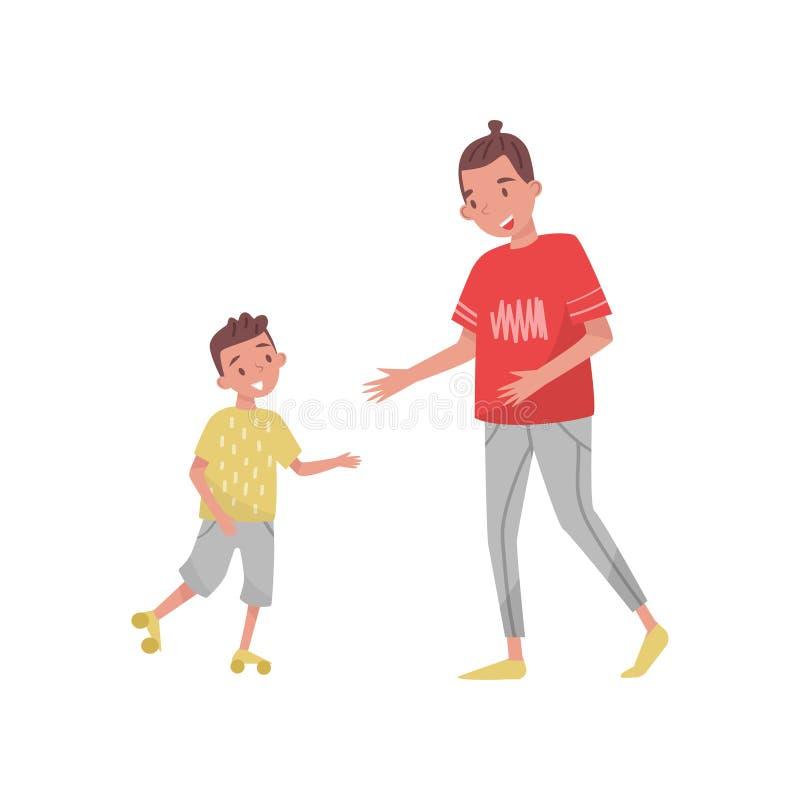 Le garçon d'adolescent enseignant sa équitation de petit frère font du patin à roulettes Deux enfants gais Activité en plein air  illustration libre de droits