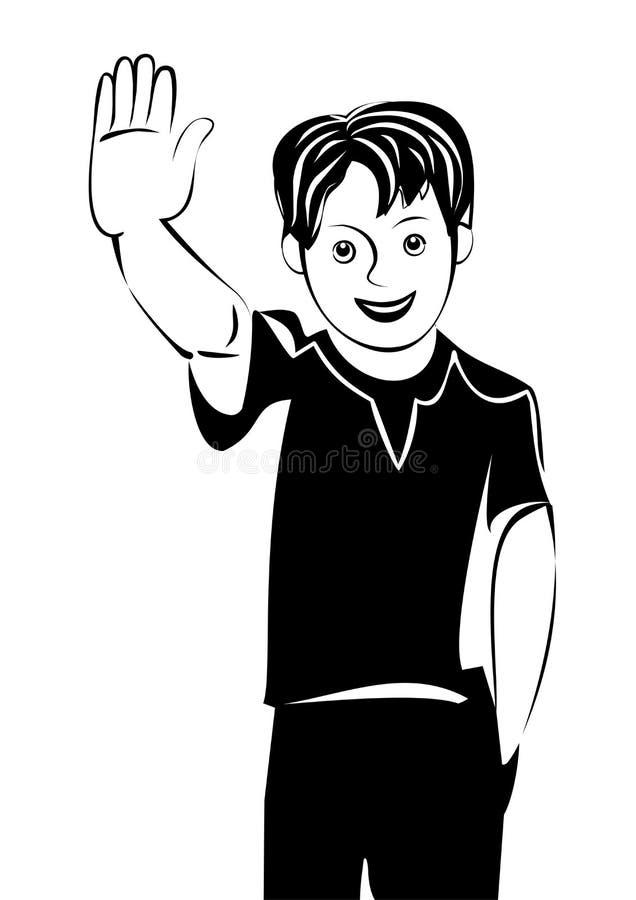 Le garçon de l'adolescence de vecteur saluent vous et le sourire illustration de vecteur