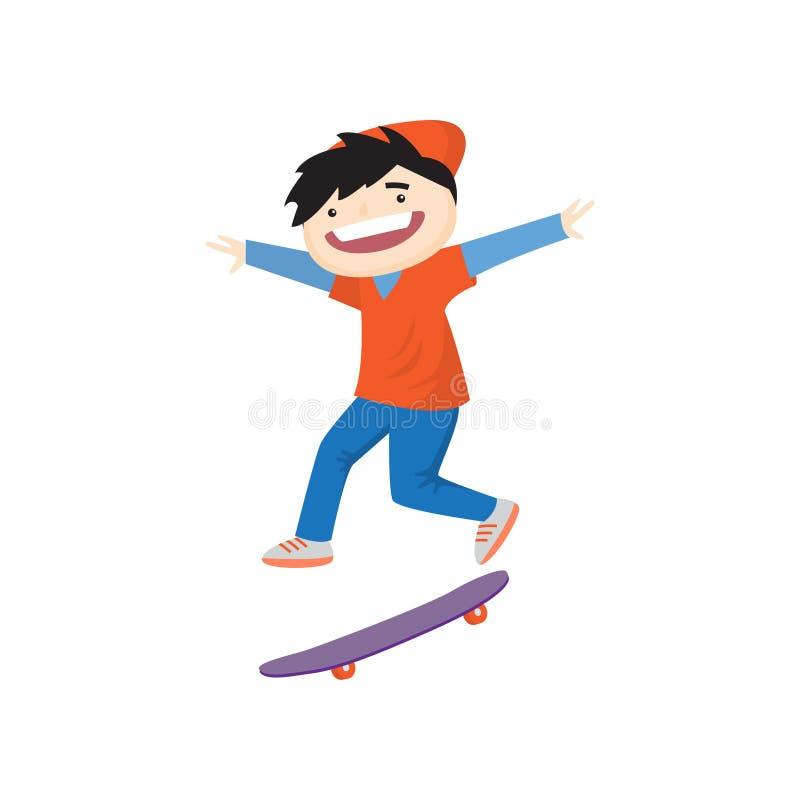 Le garçon de sourire heureux faisant de la planche à roulettes rapidement et faisant le tour a en même temps isolé sur le fond bl illustration libre de droits