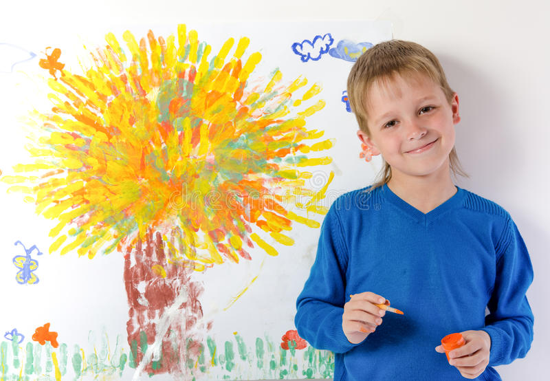 Le garçon dessine une illustration images stock
