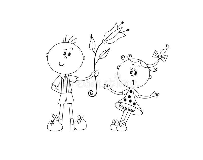 Le garçon donne la fleur à la fille illustration libre de droits